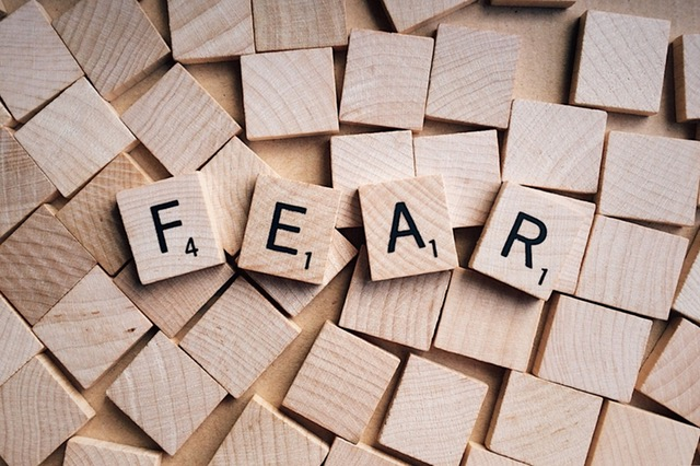 Image of FEAR spelled out in Scrabble